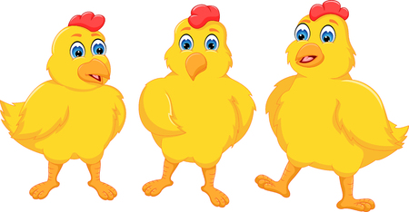 A sweet chicken cartoon friendship with posing and smile