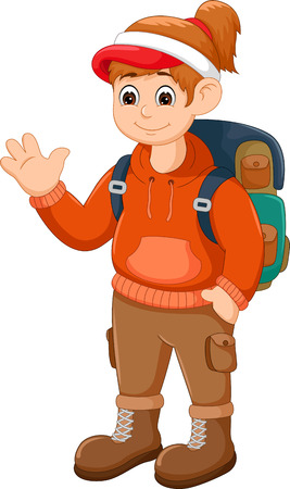 Beauty climber cartoon waving with smile Illustration