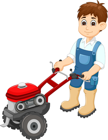 People and lawn mower cartoon