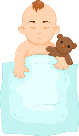 lying in bed: Funny baby sleeping with doll. Illustration