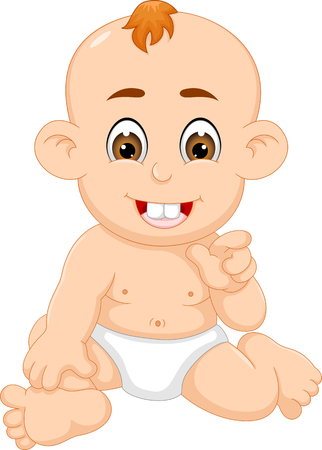 Cute baby sit with laughing cartoon