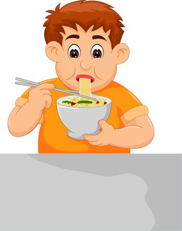 Boy eating noodle cartoon illustration Illustration