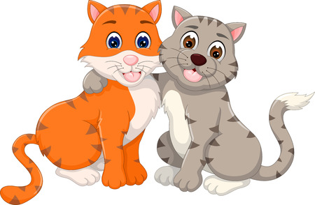 loving cat couple cartoon hugging with smile