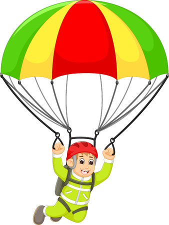 happy skydiving cartoon fly with smile happiness