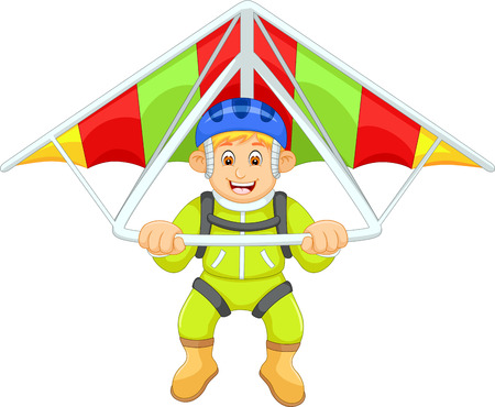 Cool paraglider cartoon Illustration
