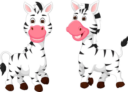 Zebra friendship cartoon standing with smile happiness.