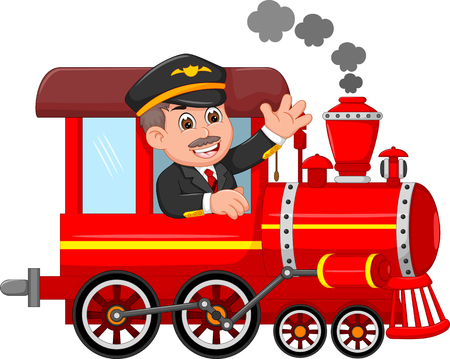 knappe machinist cartoon up train met golven en glimlachen Stock Illustratie