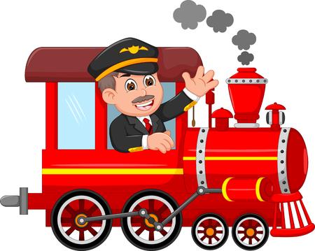 przystojny kreskówka maszynista w górę pociąg z machaniem i uśmiechem