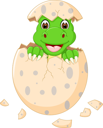 Cute baby dinosaur hatch cartoon smile happiness