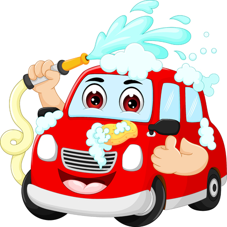 car wash: funny car wash cartoon with smile and thumbs up