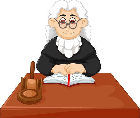 Richter, der Gesetz unter Verwendung der Hammerkarikatur anwendet