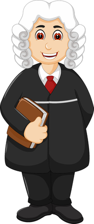 Judge applying law standing cartoon with smile Vector Illustration