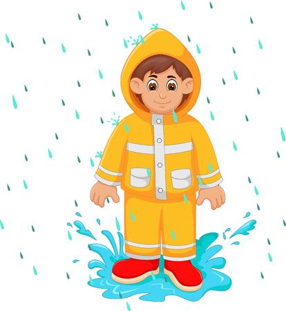 cartone animato bel ragazzo in piedi sotto la pioggia utilizzare impermeabile con un sorriso