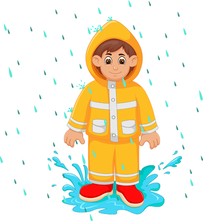 handsome boy cartoon standing under rain use raincoat with smile