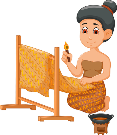 javanese woman batik cartoon Illustration