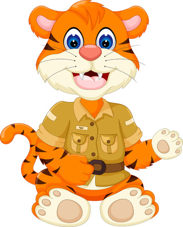 cute baby tiger cartoon sitting with waving and smiling Illustration