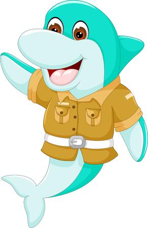 Historieta divertida del delfín que agita con la risa Foto de archivo - 86562506