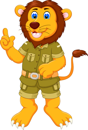 funny lion cartoon standing with pointing finger 일러스트