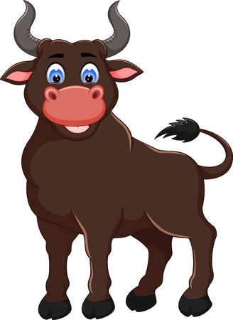 funny bull cartoon posinng with smile