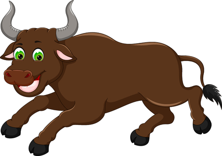 funny bull cartoon running with laughing