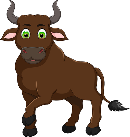 cute bull cartoon standing with smile