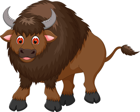 cute bison cartoon posing with smile Иллюстрация