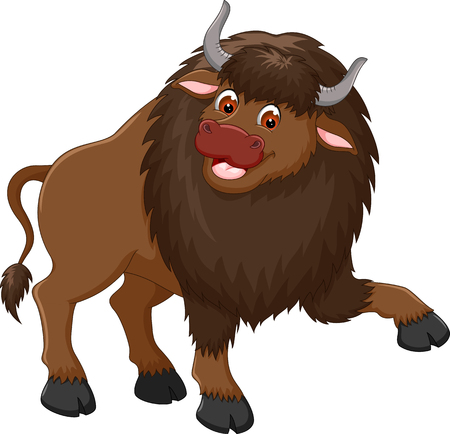 funny bison cartoon standing with smile and waving Ilustrace