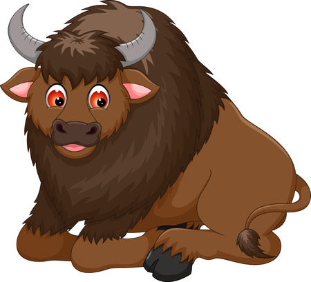 cute bison cartoon sitting with smiling Иллюстрация