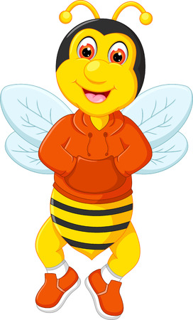 Cute bee cartoon posing with laughing.