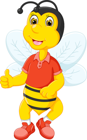 Funny bee cartoon posing with thumb up and smile. Ilustração