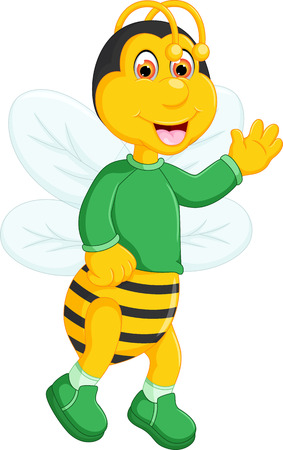 Cute bee cartoon standing with waving and laughing.