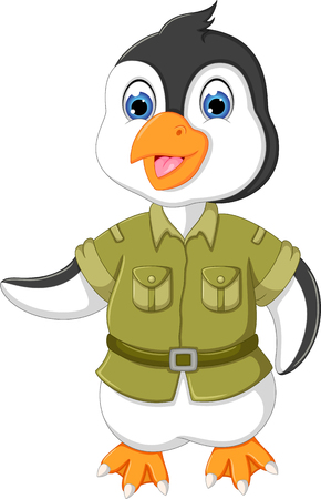 cute pinguin cartoon standing with smile and waving Stock Photo