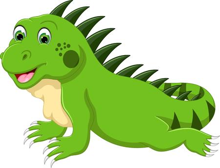 Una Ilustración De Un Lagarto Iguana Verde De Dibujos Animados Feliz
