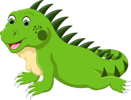 funny iguana cartoon posing with laughing