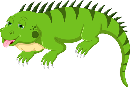 cute iguana cartoon posing with sticking her tongue out Illustration