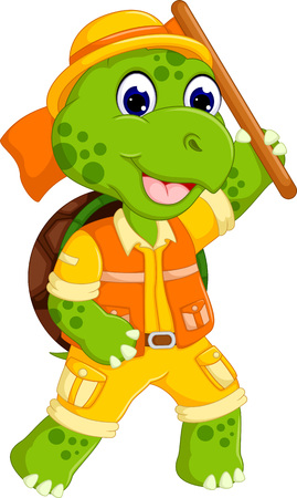 funny turtle cartoon posing with smile and bring wood