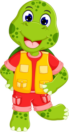 cute turtle cartoon posing with smiling Illustration