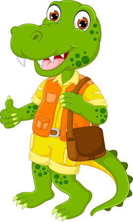 cute crocodile cartoon standing with smile and thumb up Illustration