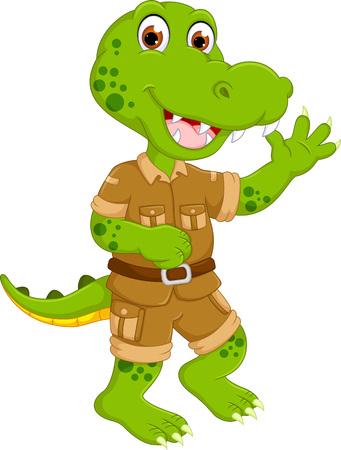 funny crocodile cartoon dancing with laughing