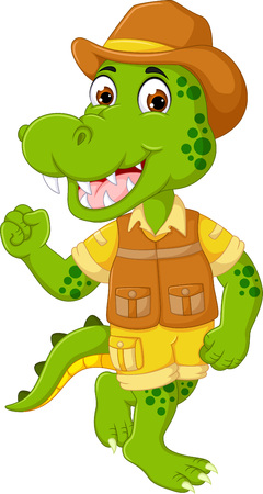 funny crocodile cartoon posing with laughing