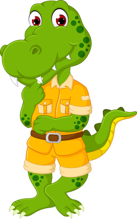 cute crocodile cartoon posing with smiling