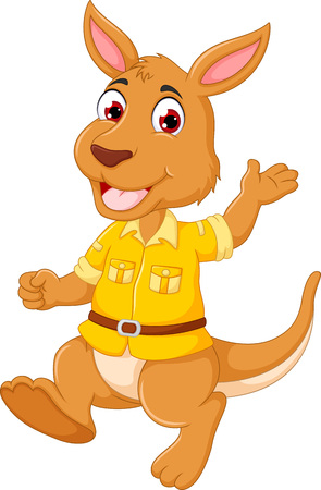 funny kangaroo cartoon standing with smile happiness