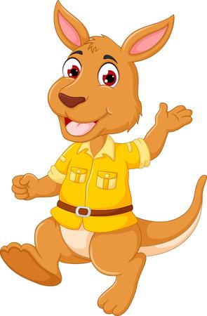 funny kangaroo cartoon standing with smile happiness