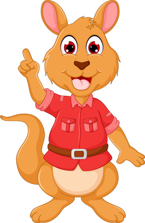 funny kangaroo cartoon standing with smile and apointing