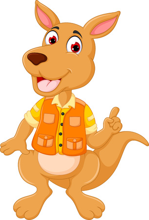 cute kangaroo cartoon posing with smile and waving
