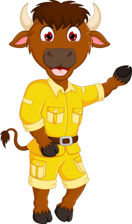 funny bull cartoon dancing with laugh and waving