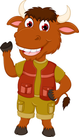 cute bull cartoon dancing with smile and waving Illustration