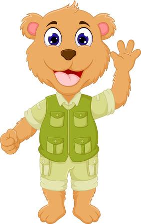 Funny bear cartoon character waving