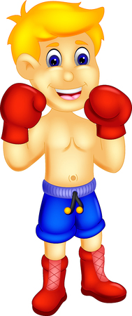 cool boxer cartoon standing with action and smiling