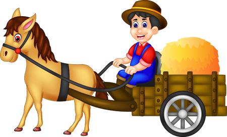 cute farmer cartoon bring straw up horse with smiling